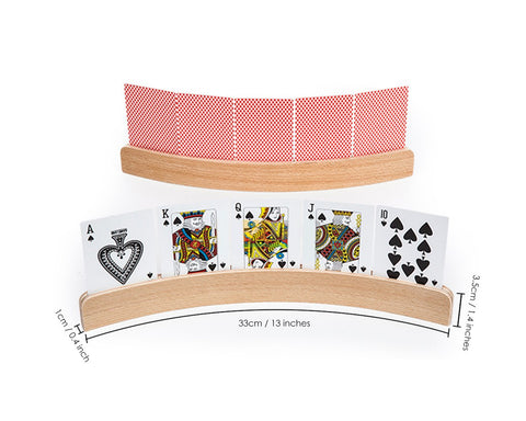 Playing Card Holders 2 Pieces 13 Inches Curved Wooden Racks for Card Games