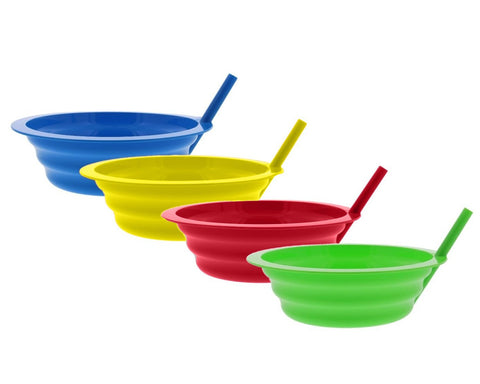 Sippy Bowls With Straws 4 Pieces 200 ml Plastic Cereal Bowl for Kids