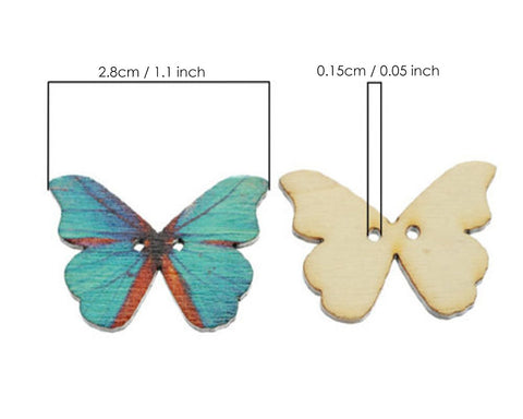 Butterfly Sewing Buttons 50 Pieces Wooden Buttons 2 Hole Buttons