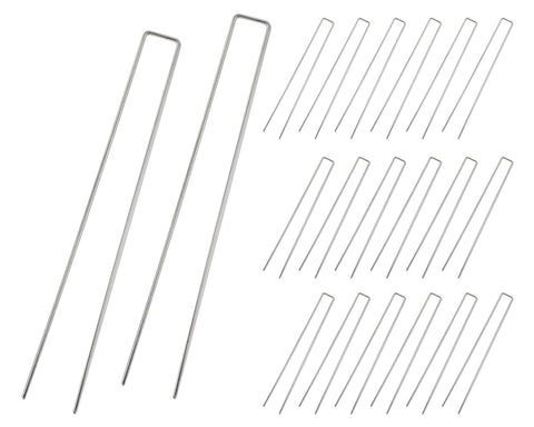 Garden Stakes 20 Pieces 12 Inch Anti-rust Galvanized Ground Anchors for Xmas and Weed Barrier