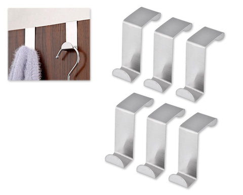 6 Pcs Stainless Steel Over Door Hooks Set - Silver