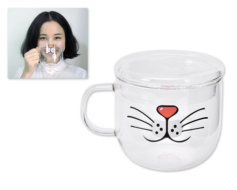 Cat Beard Cute Mug with Lid 500 Milliliter/17 Ounces Transparent Glass Funny Tea Cup Coffee Mug for Drinking Water Novelty Morning Mug