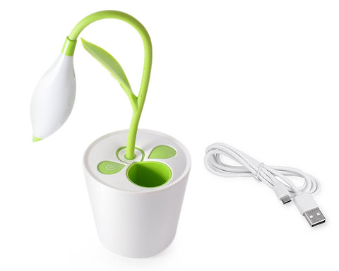 Plant Shape LED Desk Light with Pen Holder - Green