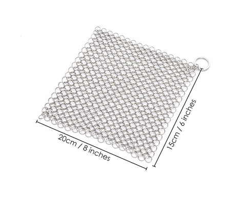 Stainless Steel Cast Iron Cleaner 8 x 6 Inches Chainmail Scrubber
