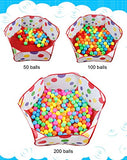 1.2m Foldable Hexagon Ball Pool Tent with Red Zippered Bag for Kids