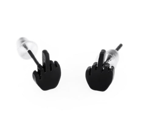 3 Pairs Middle Finger Stainless Steel Stud Earrings