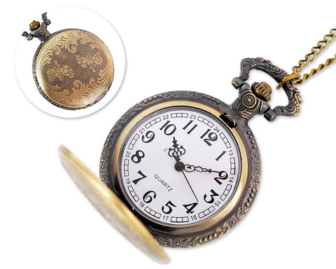 Vintage Quartz Pocket Watch with Chain