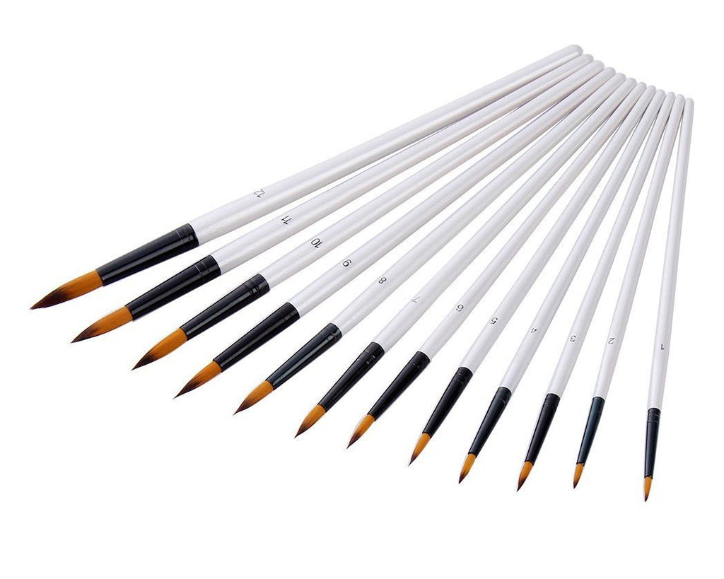 12 Pieces Pointed Round Paint Brush Set