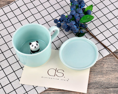 3D Cute Animal Ceramics Coffee Cup with Lid