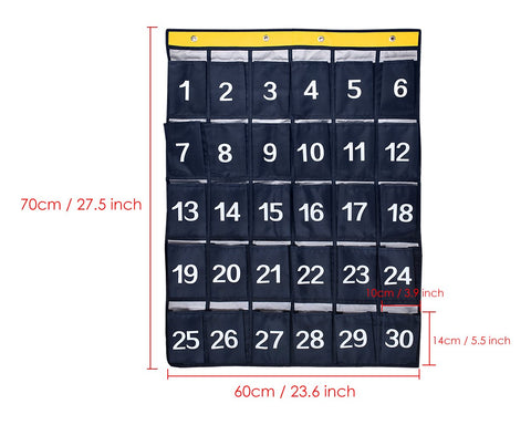 Classroom Pocket Chart 30 Pockets Hanging Organizer with 4 Hooks - Dark Blue