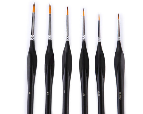 6 Pieces Detail Paint Brushes with Triangular Handle