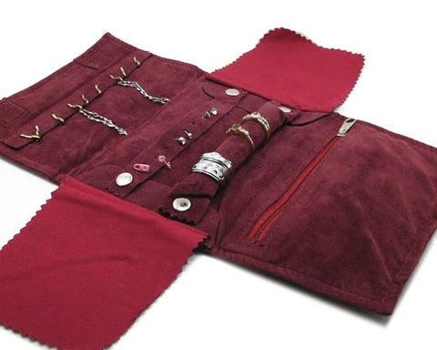 Velvet Small Jewelry Roll Bag Travel Jewelry Organizer - Burgundy