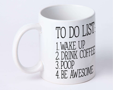 300ml Ceramic To Do List Coffee Mug - White