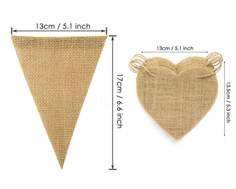 Burlap Banner with Jute Twine 45 Pieces Adjustable Blank Party Bunting