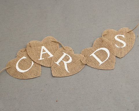 Cards Banner Heart Shaped Jute Burlap Banner