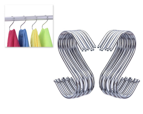 20 Pieces S Shape Hooks Hanging Hooks - Silver