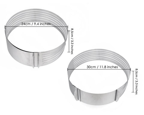 Layer Cake Slicer 9.5 to 12 Inches Adjustable Cake Ring
