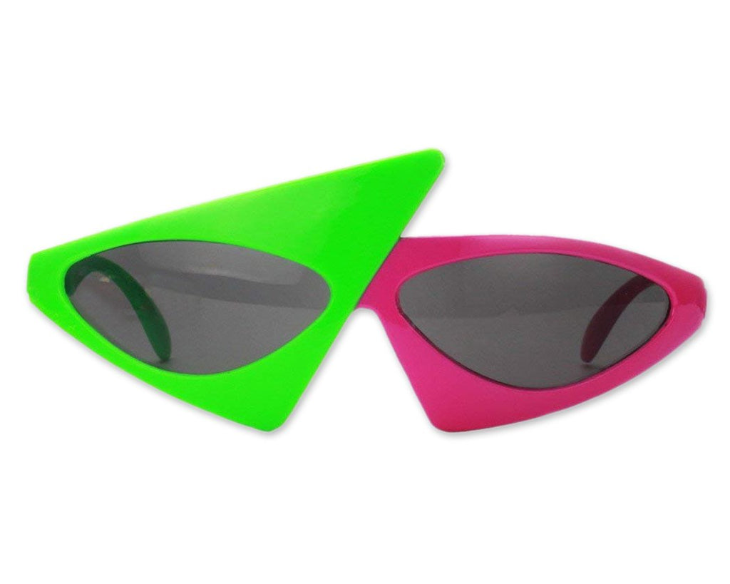 Asymmetric Glasses Magenta and Green Party Sunglasses