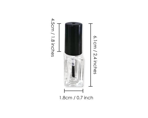 Nail Polish Bottles 5 Pieces 5 ml Empty Glass Bottles with Brush Cap