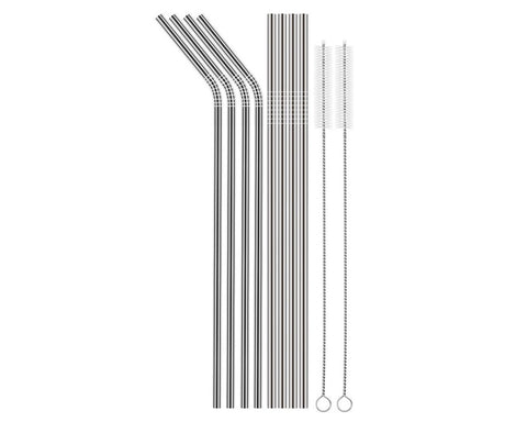 Reusable Stainless Steel Drinking Straws with 2 Cleaning Brushes
