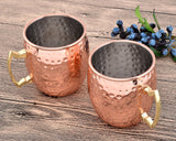 2 Pieces 500ml Stainless Steel Moscow Mule Copper Mugs - Rose Gold