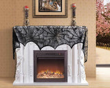 Lace Fireplace Cover with Spider Web 46cm x 244cm Mantle Scarf Cover