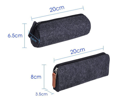 Felt Pencil Case Stationery Pouch Set of 2 - Dark Grey