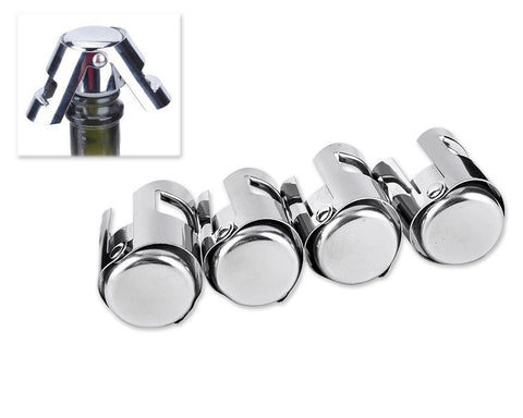 Stainless Steel Champagne Stoppers Wine Sealer Set of 4