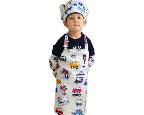 Kids Apron Set of 3 Chef Uniform Set for Kids with Apron Hat and Sleeves