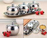 Stainless Steel Sugar Bowl with Clear Lid and Spoon
