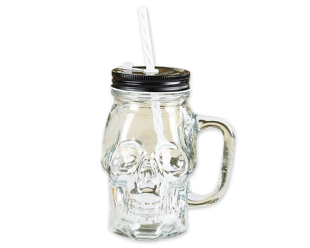 350 ml Skull Glass Cup with Lid and Straw