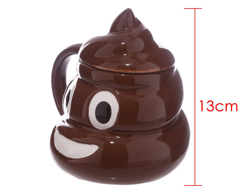 Coffee Mug Funny Poop Shaped Emoji Coffee Cup - Brown