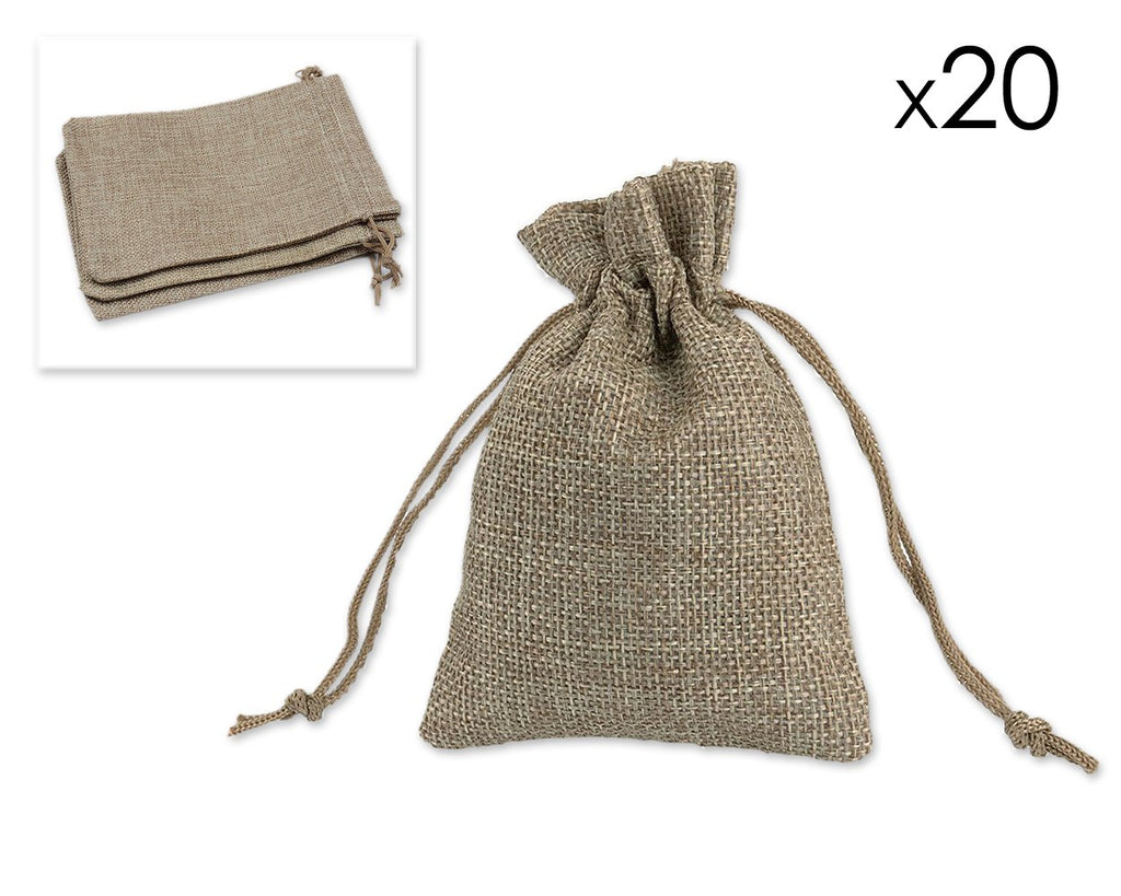 20 Pcs 9cm x 12cm Burlap Gift Bags for Parties - Brown