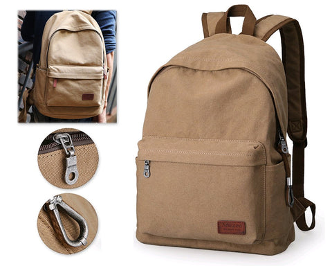 Plain Color Water Resistant Canvas Backpack with USB port - Khaki