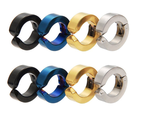 4 Pairs Titanium steel Non-Pierced Clip On Earrings