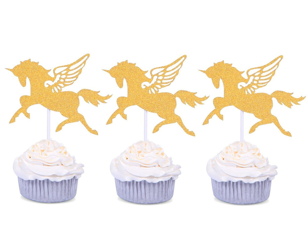 24 Pieces Golden Unicorn Cupcake Toppers for Party Decoration