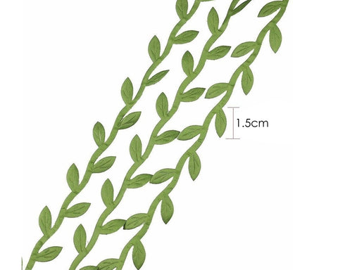 Olive Leaf Trim Ribbon Artificial Vines for DIY Wreath, 20 Yards - Green