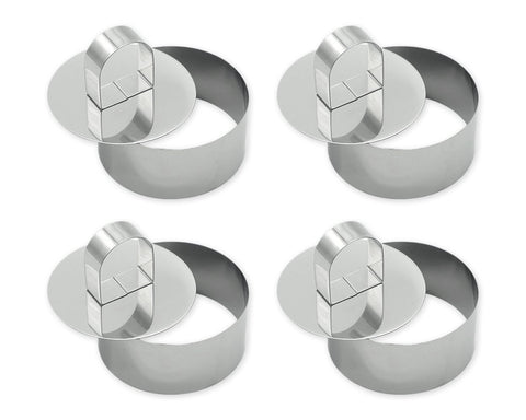 Cake Molds 4 Pieces Stainless Steel Small Cake Ring with Pusher