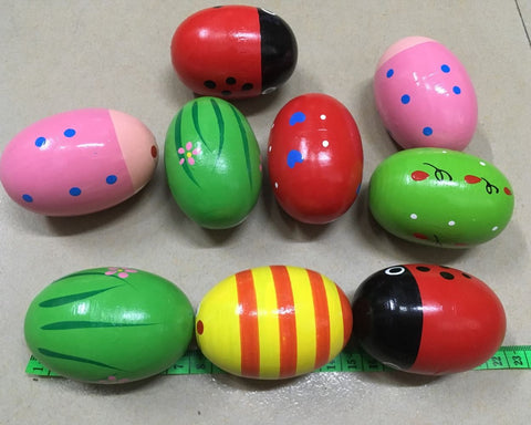 3 Inch Wooden Egg Shakers Set of 6