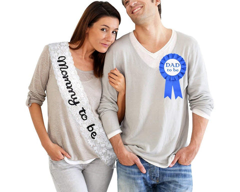Mommy To Be Sash with Dad To Be Badge for Baby Shower Party
