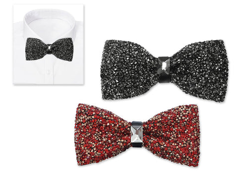 2 Pieces Luxurious Shinning Wedding Bow Tie for Men - Black and Red