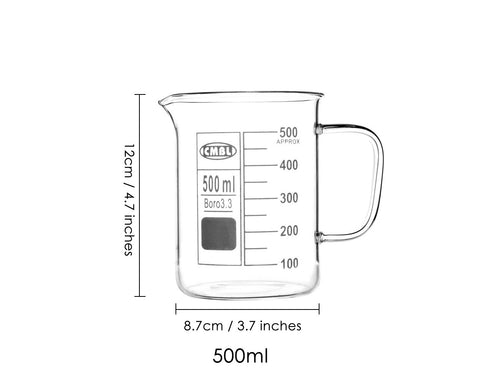 Glass Beaker with Handle 500 ml Chemistry Beaker for Laboratory