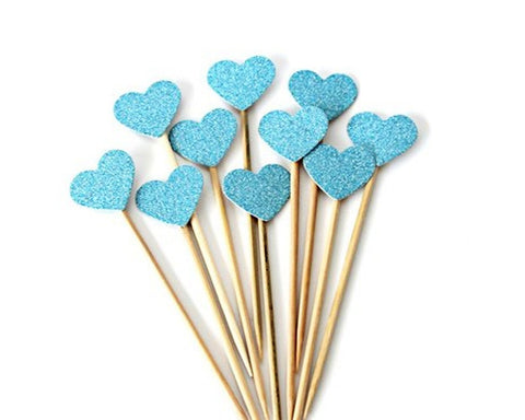 Heart Shaped Cupcake Toppers 20 Pieces Glittery Cake Toppers