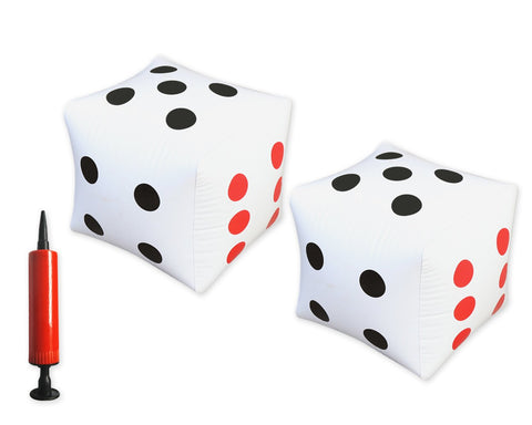 Inflatable Dices with Hand Balloon Pump 12 Inches Jumbo Blow up Dice