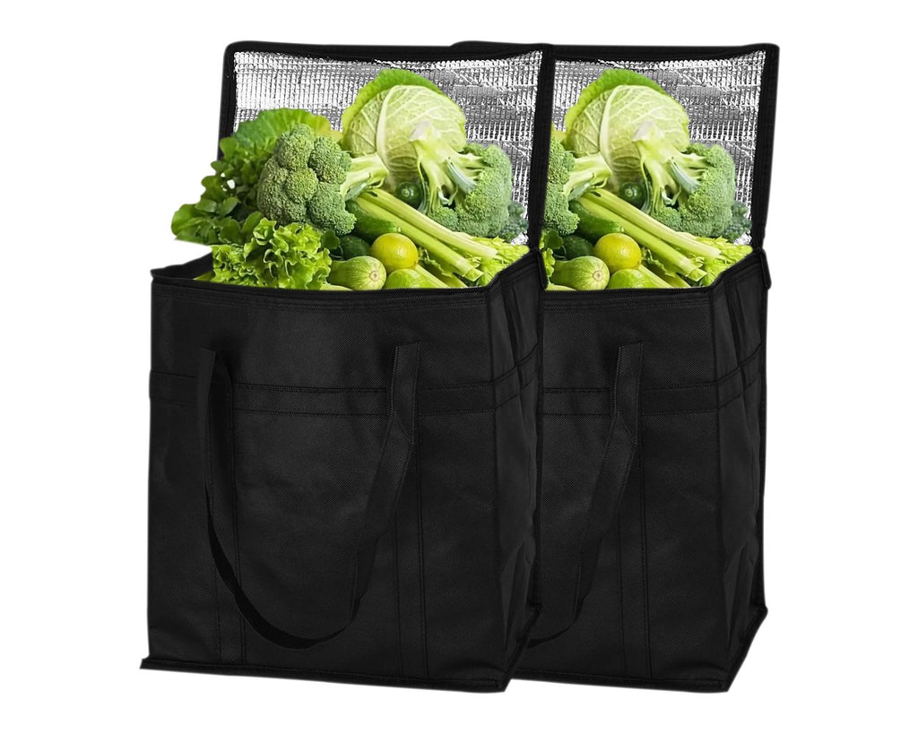 Insulated Shopping Grocery Bags With Zipper 2 Pieces Food Delivery Bag