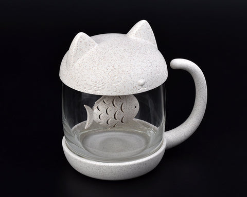 Cute Cat Tea Glass with Detachable Tea Infuser