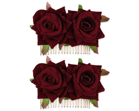 Rose Flower Hair Comb 2 Pieces Bridal Headpiece for Wedding - Wine Red