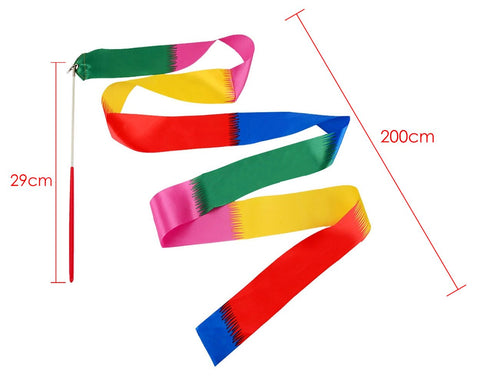 Dance Ribbons 2m Rhythmic Gymnastics Ribbon for Kids Set of 4