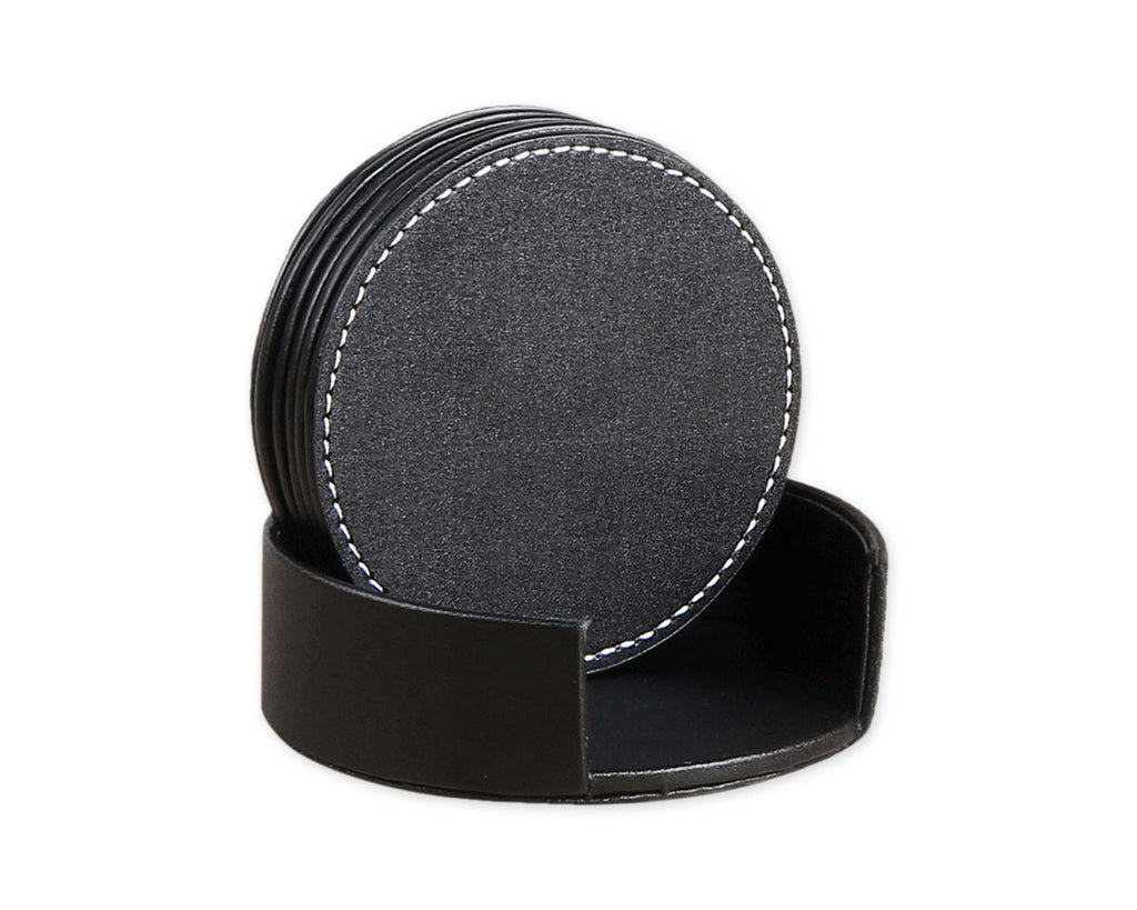 Drink Coasters 6 Pieces PU Leather Coasters with Holder - Black