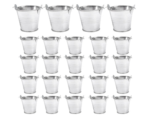 Galvanized Metal Buckets 24 Pieces 2.2 Inches Mini Buckets with Handles